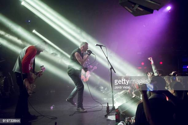 Nick Olivery and Paul Cafaro of Dwarves perform on stage during Burguer Invasion Festival at Sala Apolo on February 17 2018 in Barcelona Spain