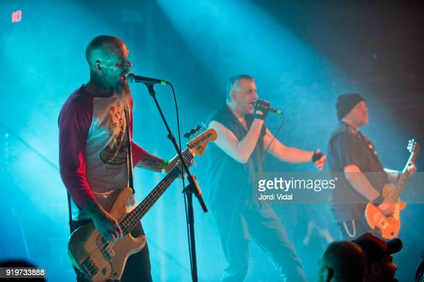 Nick Olivery Paul Cafaro and Mark Diamond of Dwarves perform on stage during Burguer Invasion Festival at Sala Apolo on February 17 2018 in Barcelona...