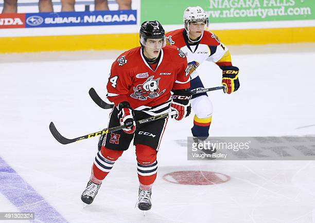 Nick Pastorius of the Niagara IceDogs skates during an OHL game against the Erie Otters at the Meridian Centre on October 1 2015 in St Catharines...