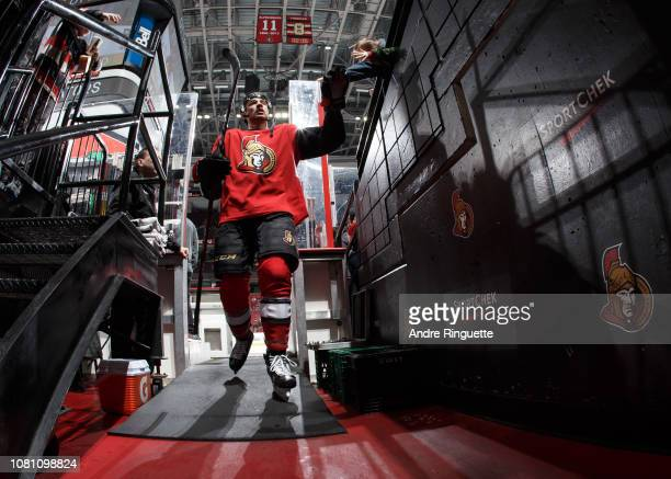 Nick Paul of the Ottawa Senators leaves the ice after warmup prior to a game against the Boston Bruins at Canadian Tire Centre on December 9 2018 in...
