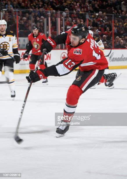 Nick Paul of the Ottawa Senators shoots the puck against the Boston Bruins at Canadian Tire Centre on December 9 2018 in Ottawa Ontario Canada