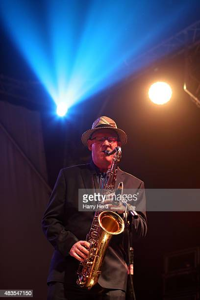 Nick Pentelow of Andy Fairweather Low and the Low Riders performs on day 1 of Wickham Festival on August 6 2015 in Wickham England