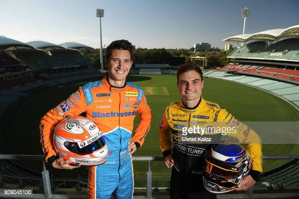 Nick Percat driver of the Brad Jones Racing Commodore ZB and Tim Slade driver of the Freightliner Racing Holden Commodore ZB pose for a photo at...