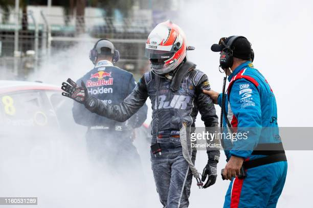 Nick Percat driver of the Brad Jones Racing Commodore ZB is pictured after his car caught fire during race 2 on July 07, 2019 in Townsville,...