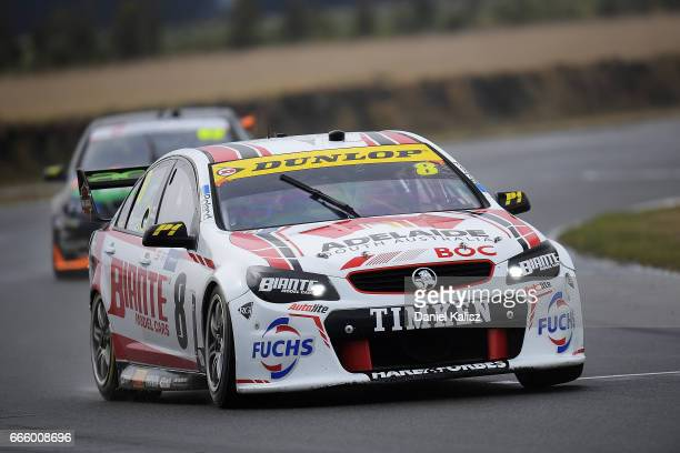 Nick Percat drives the Team Clipsal Brad Jones Racing Commodore VF during qualifying for race 3 for the Tasmania SuperSprint which is part of the...