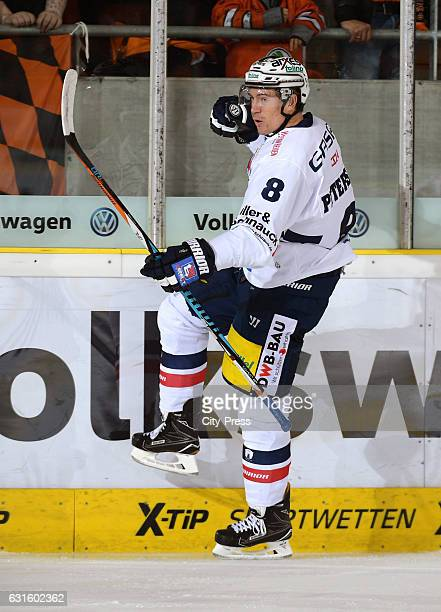 Nick Petersen of the Eisbaeren Berlin celebrates during the action shot on August 27 2016 in Dresden Germany