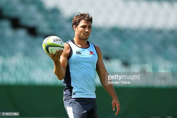 Nick Phipps looks on during the Waratahs Super Rugby captain's run at Allianz Stadium on March 17 2016 in Sydney Australia