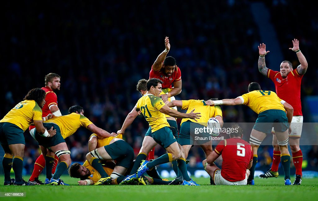 Nick Phipps of Australia clears the ball upfield during the 2015 Rugby World Cup Pool A match between Australia and Wales at Twickenham Stadium on October 10, 2015 in London, United Kingdom.