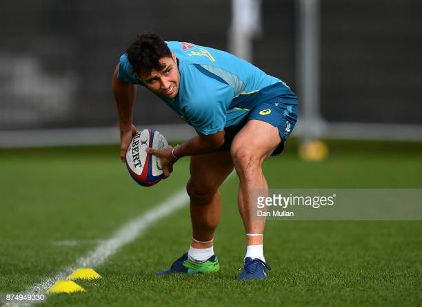 Nick Phipps of Australia lines up a pass during a training session at the Lensbury Hotel on November 16 2017 in London England