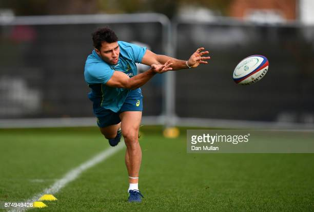 Nick Phipps of Australia releases a pass during a training session at the Lensbury Hotel on November 16 2017 in London England