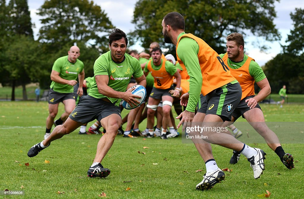 Nick Phipps of Australia takes on Nick Frisby of Australia during an Australia training session at The Lensbury Hotel on October 6, 2016 in London, United Kingdom.