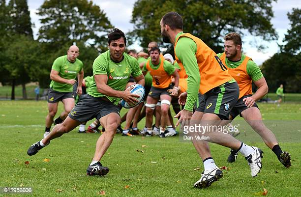 Nick Phipps of Australia takes on Nick Frisby of Australia during an Australia training session at The Lensbury Hotel on October 6 2016 in London...