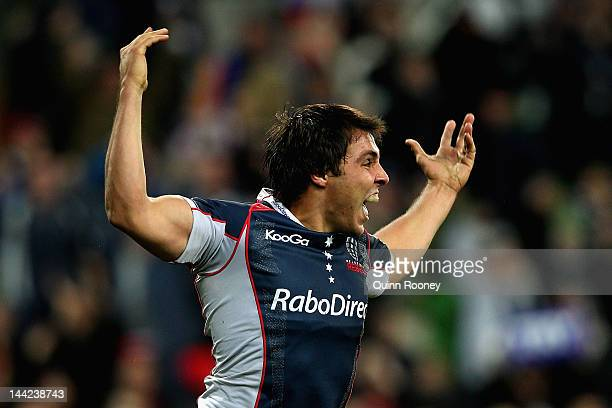 Nick Phipps of the Rebels celebrates scoring a try during the round 12 Super Rugby match between the Rebels and the Crusaders at AAMI Park on May 12,...