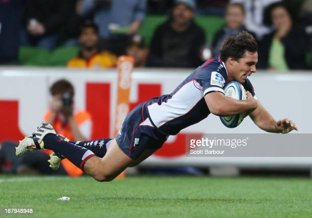 Nick Phipps of the Rebels dives in to score a try during the round 12 Super Rugby match between the Rebels and the Chiefs at AAMI Park on May 3 2013...