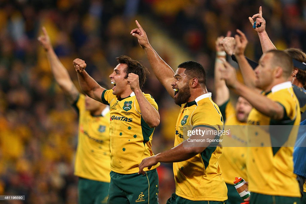 Nick Phipps of the Wallabies and Scott Sio of the Wallabies celebrate winning the Rugby Championship match between the Australian Wallabies and the South Africa Springboks at Suncorp Stadium on July 18, 2015 in Brisbane, Australia.