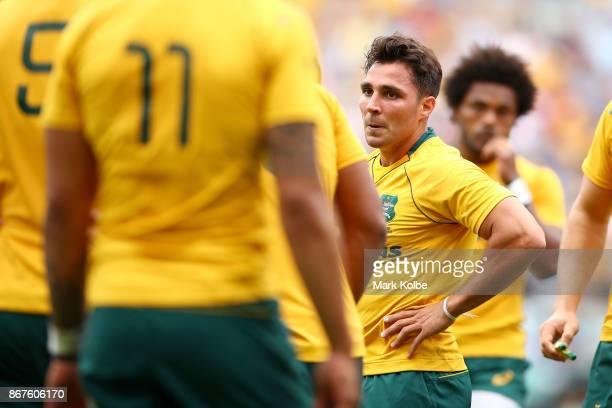 Nick Phipps of the Wallabies looks dejected after a Barbarians try during the match between the Australian Wallabies and the Barbarians at Allianz...