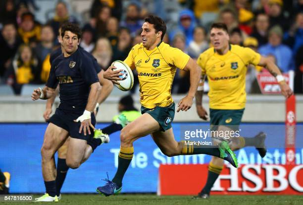 Nick Phipps of the Wallabies makes a line break to score during The Rugby Championship match between the Australian Wallabies and the Argentina Pumas...