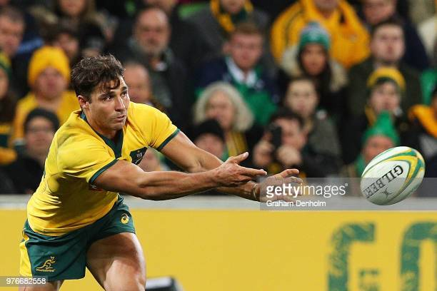 Nick Phipps of the Wallabies passes with the ball during the International test match between the Australian Wallabies and Ireland at AAMI Park on...