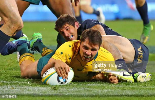 Nick Phipps of the Wallabies scores a try during The Rugby Championship match between the Australian Wallabies and the Argentina Pumas at Canberra...