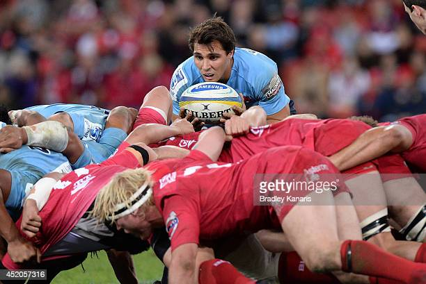 Nick Phipps of the Waratahs feeds the scrum during the round 19 Super Rugby match between the Reds and the Waratahs at Suncorp Stadium on July 12...