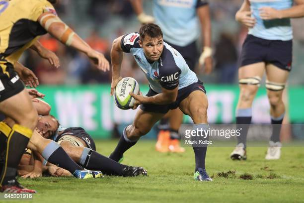 Nick Phipps of the Waratahs passes during the round one Super Rugby match between the Waratahs and the Force at Allianz Stadium on February 25 2017...
