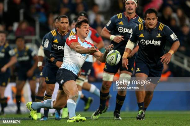 Nick Phipps of the Waratahs passes the ball during the round 14 Super Rugby match between the Highlanders and the Waratahs at Forsyth Barr Stadium on...