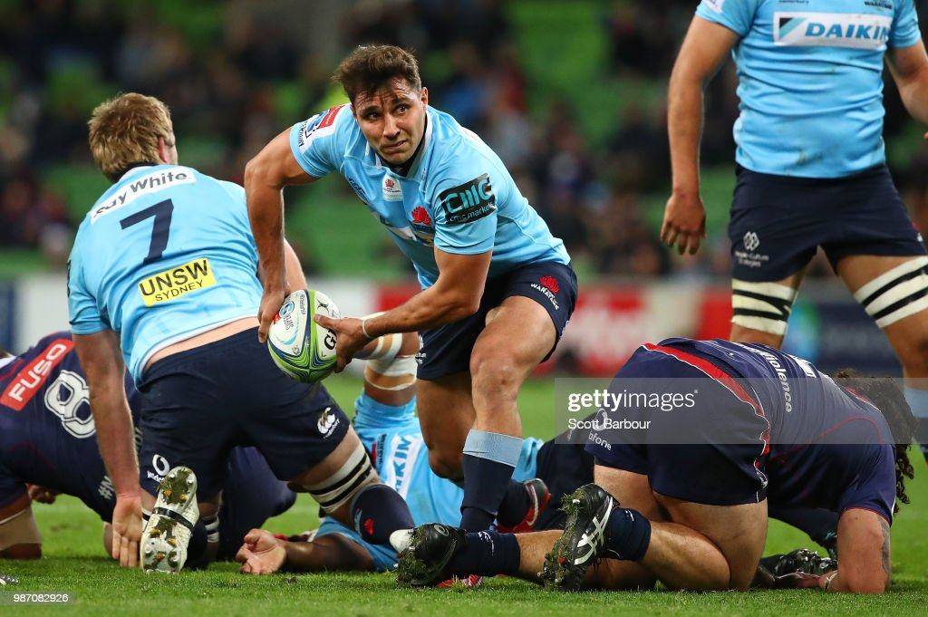 Nick Phipps of the Waratahs passes the ball during the round 17 Super Rugby match between the Rebels and the Waratahs at AAMI Park on June 29, 2018 in Melbourne, Australia.