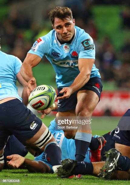 Nick Phipps of the Waratahs passes the ball during the round 17 Super Rugby match between the Rebels and the Waratahs at AAMI Park on June 29 2018 in...