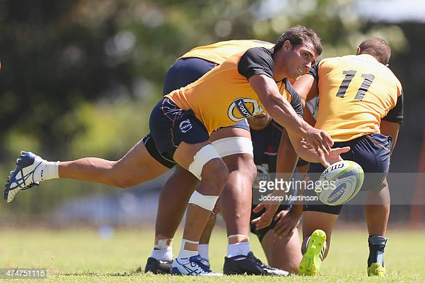 Nick Phipps passes the ball during a Waratahs Super Rugby training session at Allianz Stadium on February 25 2014 in Sydney Australia