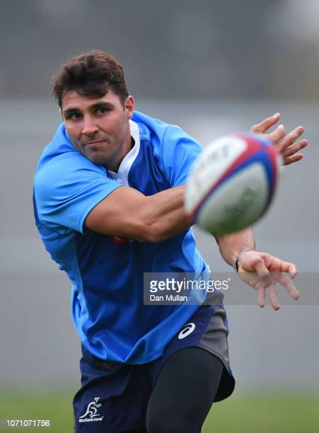 Nick Phipps passes the ball during an Australia training session at The Lensbury Conference Centre on November 22 2018 in London England
