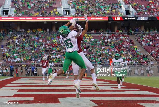 Nick Pickett of the Oregon Ducks breaks up the pass in the endzone intended for Brycen Tremayne of the Stanford Cardinal during the fourth quarter of...