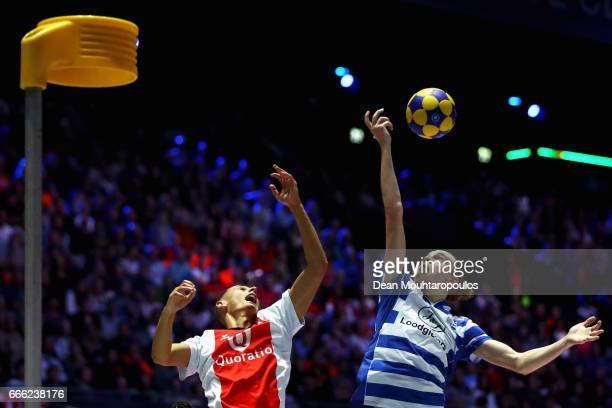 Nick Pikaar of Top/Quoration battles for the ball with Frank Mostard of BlauwWit during the Dutch Korfball League Final between BlauwWit and...