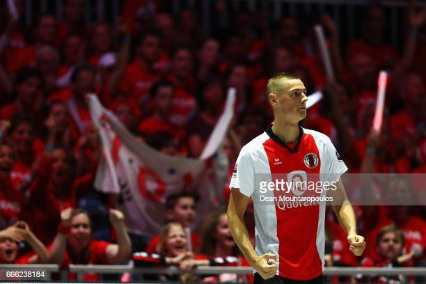 Nick Pikaar of Top/Quoration celebrates scoring a point during the Dutch Korfball League Final between BlauwWit and TOP/Quoratio held at the Ziggo...