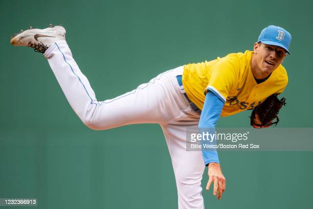 Nick Pivetta of the Boston Red Sox delivers as he wears the Nike City Connect jersey during the second inning of a game against the Chicago White Sox...