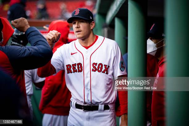 Nick Pivetta of the Boston Red Sox high fives teammates before a game against the Seattle Mariners on April 22, 2021 at Fenway Park in Boston,...