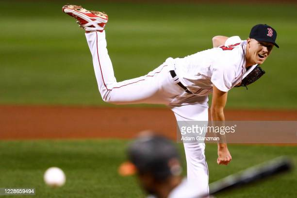Nick Pivetta of the Boston Red Sox makes his Red Sox debut as he pitches in the first inning of a game against the Baltimore Orioles at Fenway Park...