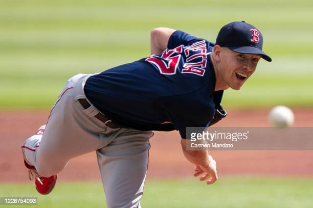 Nick Pivetta of the Boston Red Sox pitches during the first inning of a game against the Atlanta Braves at Truist Park on September 27, 2020 in...