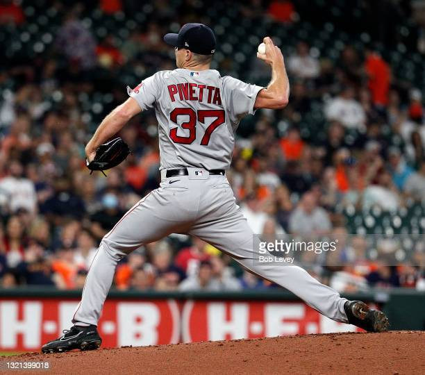 Nick Pivetta of the Boston Red Sox pitches in the first inning against the Houston Astros at Minute Maid Park on June 02, 2021 in Houston, Texas.