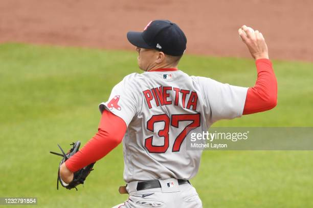Nick Pivetta of the Boston Red Sox pitches in the third inning during a baseball game against the Baltimore Orioles at Oriole Park at Camden Yards on...