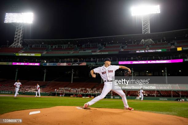 Nick Pivetta of the Boston Red Sox warms up before a game against the Baltimore Orioles on September 22, 2020 at Fenway Park in Boston,...