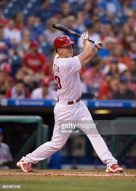 Nick Pivetta of the Philadelphia Phillies bats against the New York Mets at Citizens Bank Park on August 11 2017 in Philadelphia Pennsylvania