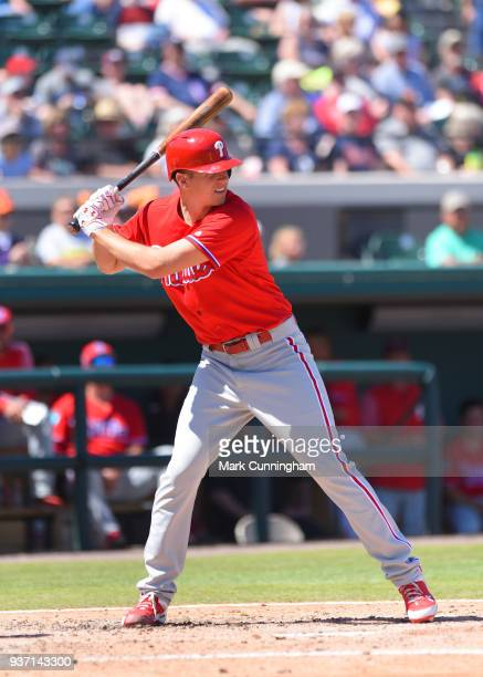 Nick Pivetta of the Philadelphia Phillies bats during the Spring Training game against the Detroit Tigers at Publix Field at Joker Marchant Stadium...