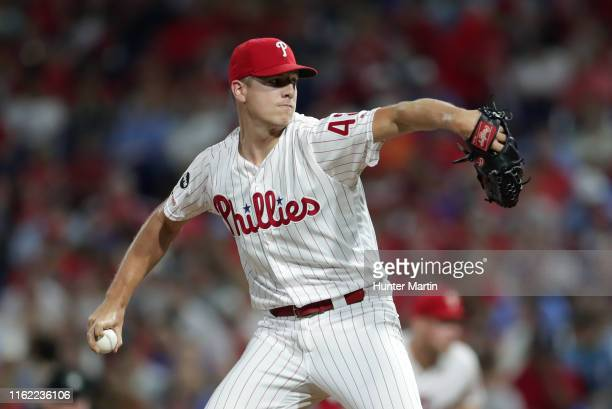 Nick Pivetta of the Philadelphia Phillies delivers a pitch in the fifth inning during a game against the San Diego Padres at Citizens Bank Park on...
