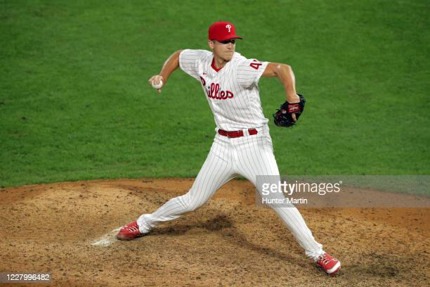 Nick Pivetta of the Philadelphia Phillies delivers a pitch in the ninth inning during a game against the Atlanta Braves at Citizens Bank Park on...