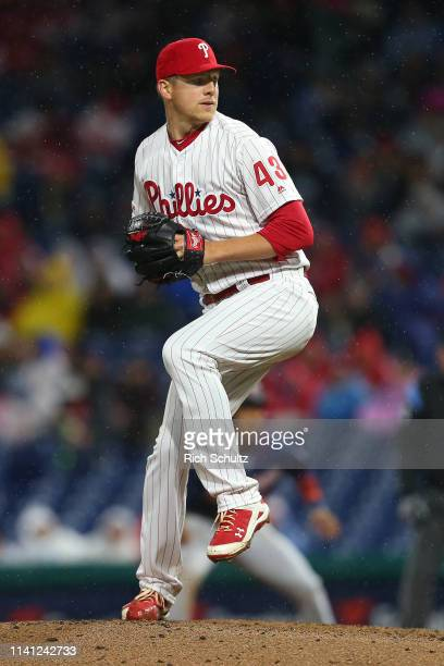 Nick Pivetta of the Philadelphia Phillies in action against the Minnesota Twins during a game at Citizens Bank Park on April 5, 2019 in Philadelphia,...