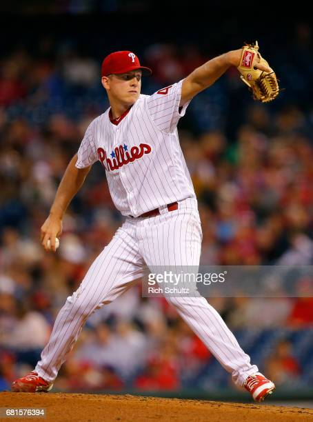 Nick Pivetta of the Philadelphia Phillies in action against the Washington Nationals during a game at Citizens Bank Park on May 5 2017 in...