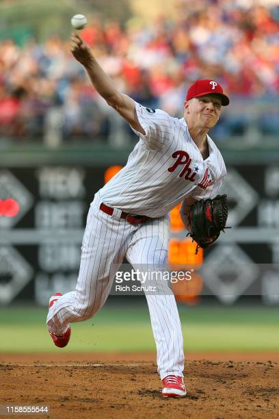 Nick Pivetta of the Philadelphia Phillies in action against the New York Mets during a baseball game at Citizens Bank Park on June 26, 2019 in...