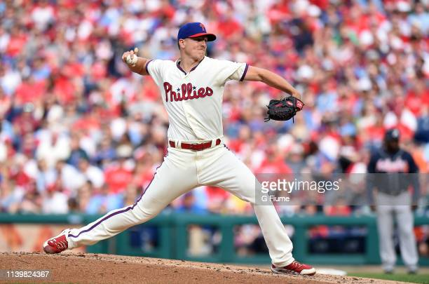 Nick Pivetta of the Philadelphia Phillies pitches against the Atlanta Braves at Citizens Bank Park on March 30 2019 in Philadelphia Pennsylvania