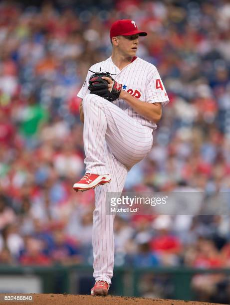 Nick Pivetta of the Philadelphia Phillies pitches against the New York Mets at Citizens Bank Park on August 11 2017 in Philadelphia Pennsylvania