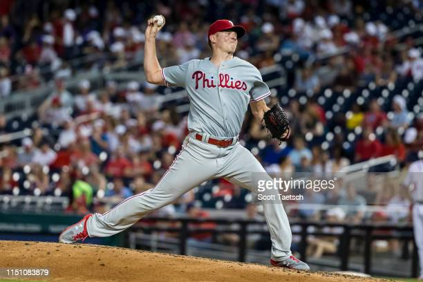 Nick Pivetta of the Philadelphia Phillies pitches against the Washington Nationals during the third inning at Nationals Park on June 20, 2019 in...